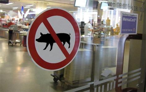 Schweine verboten.