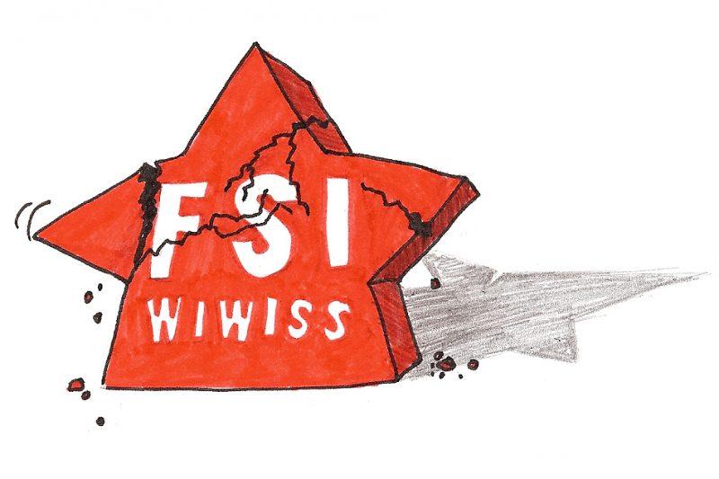 Zoff in der FSI Wiwiss: Der rote Stern -- das Logo der Gruppe -- bekommt leichte Risse. Illustration: Luise Schricker