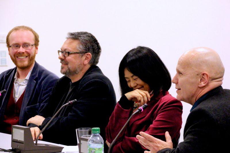 Chris Fenwick, Michail Schischkin, Yoko Tawada und Georg Klein im Gespräch.