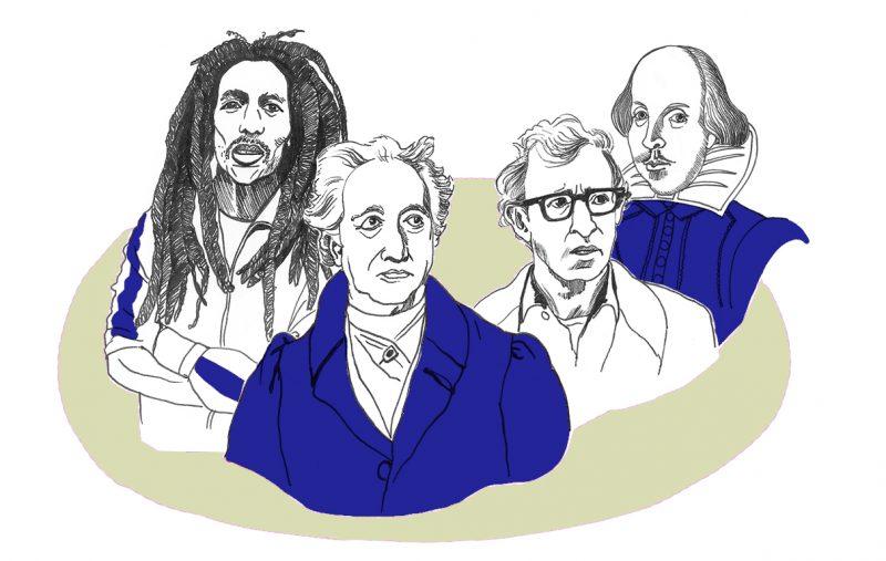Vier Kulturgrößen: Bob Marley, Johann Wolfgang von Goethe, Woody Allen und William Shakespeare. Illustration: Luise Schricker