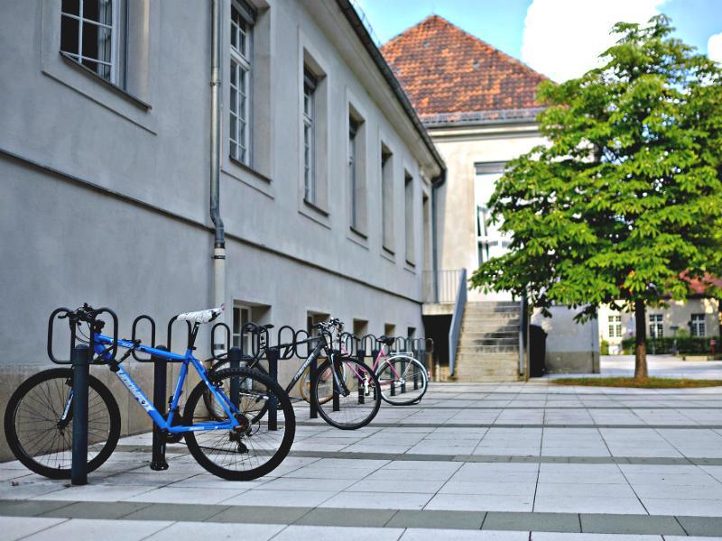 Der Eingang zur Medizinischen Bibliothek der Charité. Foto: Melanie Böff