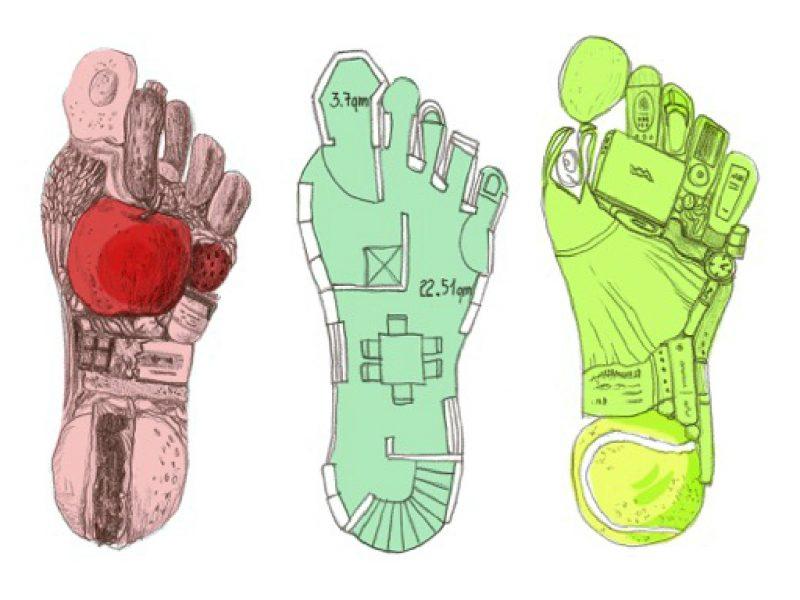 Neben den Bereichen Ernährung, Mobilität und Konsum wird auch die Kategorie Mobilität zur Berechnung des ökologischen Fußabdrucks herangezogen. Illustration: Luise Schricker