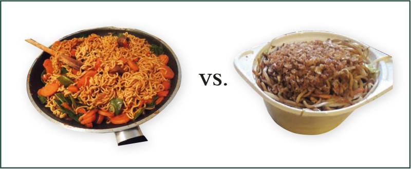 Die selbstgekochte Nudelpfanne (links) erfordert einiges an Vorbereitung, doch der Aufwand lohnt sich.