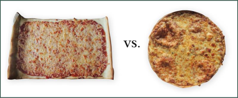 Die selbstgemachte Pizza (links) ist nicht rund, sie liegt aber trotzdem knapp vor der bestellten.