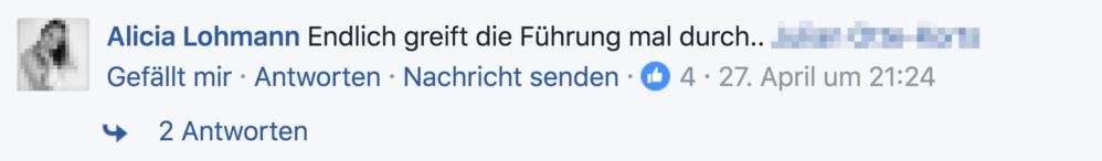 Screenshot Facebook Furios, Stupa-Debatte Besetzung