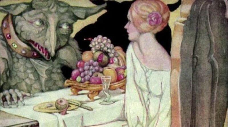Wohlstand und Status gegen Schönheit und Sexualität?  Bild: Ausschnitt aus Belle speist mit dem Tier von Anne Anderson
